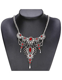 Fashion Red Oval Shape Gemstone Decorated Hollow Out Short Necklace