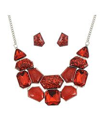 Elegant Red Geometric Shape Gemstone Decorated Simple Jewelry Sets