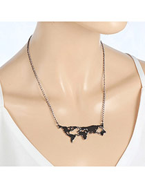 Fashion Gun Black Earth's Tectonic Plates Pendant Decorated Simple Necklace