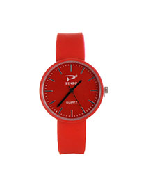 Fashion Red Pure Color Decorated Big Dial Design Simple Watch