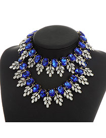 Fashion Sapphire Blue Oval Shape Diamond Decorated Double Layer Jewelry Set