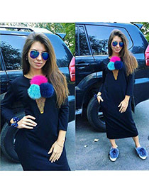 Fashion Navy Fuzzy Balls Decorated Ice Cream Shape Long Sleeve Plus Velvet Dresss