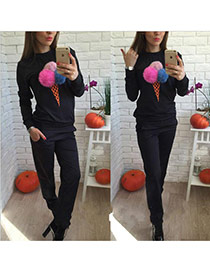 Fashion Black Fuzzy Balls Decorated Ice Cream Shape Long Sleeve Plus Velvet Sportswear Suits
