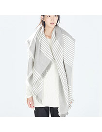 Fashion Gray Stripe Pattern Decorated Tassel Design Simple Shawl