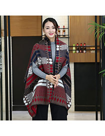 Fashion Red Geometric Shape Pattern Decorated Cloak Shape Design Scarf