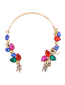 Elegant Multi-color Oval Shape Diamond Decorated Simple Opening Necklace