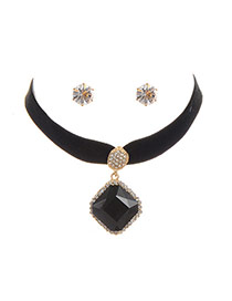 Fashion Black Square Shape Diamond Decorated Simple Width Jewelry Sets