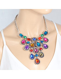 Fashion Multi-color Water Drop Shape Diamond Decorated Hollow Out Simple Choker