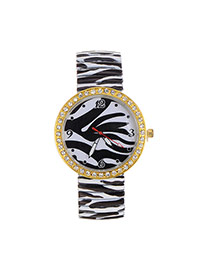 Fashion White+black Stripe Pattern Decorated Large Dial Design Simple Watch