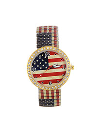 Fashion Multi-color Flag Pattern Decorated Large Dial Design Strech Watch