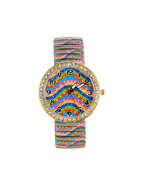 Fashion Multi-color Stripe Pattern Decorated Color Matching Large Dial Watch