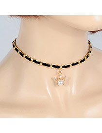 Fashion Black Pearls&diamond Decorated Crown Shape Necklace