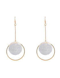 Fashion Gold Color Round Shape Pendant Decorated Long Chain Earrings