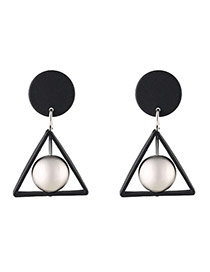 Fashion Silver Color Triangle Shape Decorated Design Simple Earrings