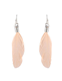Sweet Pink Leaf Shape Pendant Decorated Simple Earrings