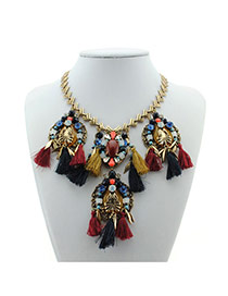 Bohemia Gold Color Oval Shape Decorated Tassle Short Chain Necklace