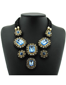 Delicate Blue Square Shape Diamond Decorated Double Layer Necklace