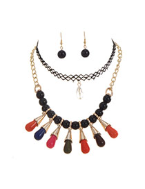 Vintage Multi-color Round Shape Decorated Double Layer Simple Necklace