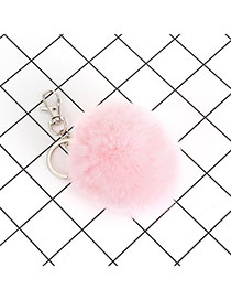 Lovely Pink Fuzzy Ball Decorated Simple Key Ring