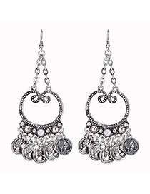 Bohemia Silver Color Coin Shape Tassel Decorated Pure Color Earrings