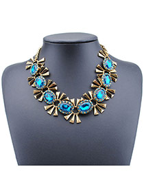 Sweet Blue Candy Shape Decorated Simple Short Chain Necklace