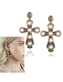 Vintage Gold Color Round Shape Decorated Cross Shape Desin Simple Earrings