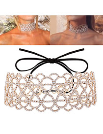 Vintage Gold Color Pure Color Decorated Hollow Out Choker
