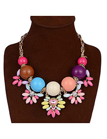 Elegant Multi-color Pearl&flower Pendant Decorated Short Chain Necklace