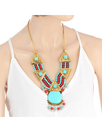 Personality Gold Color+blue Metal Triangle Decorated Short Chain Necklace