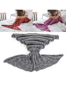 Sweet Gray Pure Color Decorated Merman Design Simple Blanket