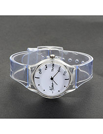 Fashion White Painted Design Decorated Simpple Wrist Watch