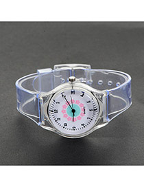 Fashion Pink+white Flower Pattern Decorated Simple Wrist Watch