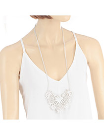 Elegant White Hollow Out Flower Shape Pendant Decorated Long Chain Necklace
