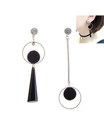 Elegant Silver Color Geometric Shape Pendant Decorated Irregular Dissymmetry Earring