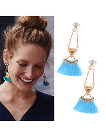 Elegant Blue Tassel Pendant Decorated Geometric Earring