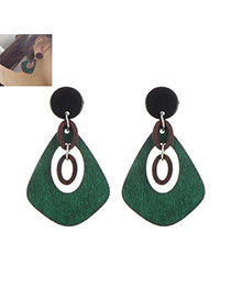 Elegant Green Geometric Shape Pendant Decorated Simple Earring
