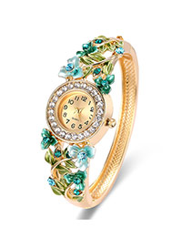 Fashion Gold Color+green Flower Decorated Hollow Out Design Color Matching Watch