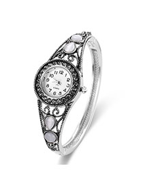 Fashion Silver Color Water Drop Shape Gemstone Decorated Hollow Out Watch