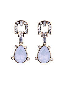 Exaggerated Antique Gold+white Water Drop Gemstone Pendant Decorated Hollow Out Earrings
