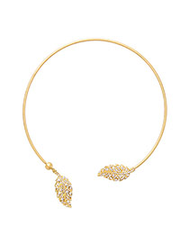 Fashion Gold Color Leaf Shape Decorated Pure Color Design Opening Necklace