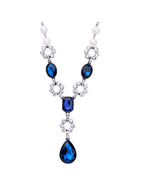 Trendy Blue Water Drop Diamond Pendant Decorated Hollow Out Flower Design Necklace