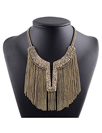 Fashion Gold Color Long Tassel Pendant Decorated Irregular Shape Necklace