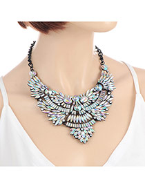 Fashion Multi-color Oval Shape Diamond Decorated Hollow Out Collar Necklace