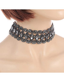 Fashion Black Oval Shape Diamond Decorated Hollow Out Design Simple Choker