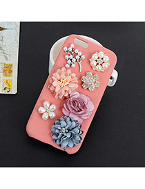 Sweet Pink Three Flower&pearl Decorated Prue Color Iphone7 Case