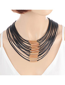 Fashion Black Color Matching Decorated Multi-layer Design Magnet Necklace