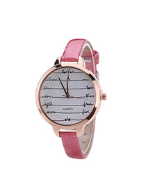 Fashion Pink Digital Pattern Decorated Round Dail Thin Strap Woman Watch