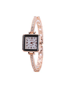 Fashion Rose Gold Diamond Decorated Square Shape Dial Simple Chain Watch