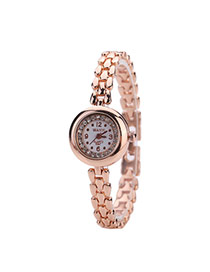 Fashion Rose Gold Diamond Decorated Round Dail Pure Color Chain Watch
