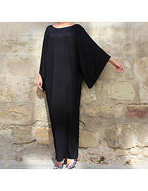 Elegant Black Pure Color Decorated Off Neckline Bat Sleeve Long Dress